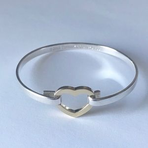 Tiffany 18K gold heart sterling bangle bracelet